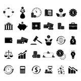 Set of finance balance black icons. On the white background Stock Photography