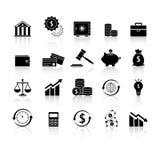 Set of finance balance reflection icons. On white background Royalty Free Stock Photo