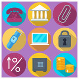 Set of 9 finance and banking colorful round icons. With long shadows. Isolated Stock Photography