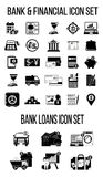 Set of finance & banking icons. Bank loan icons. Silhouettes Royalty Free Stock Photo