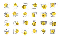 Set of finance and banking icons. Freehand drawing style. Simple linear elements Royalty Free Stock Photos