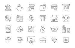 Set of finance and banking icons. Freehand drawing style. Simple linear elements Stock Image