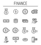 Set of finance icons in modern thin line style. High quality black outline money symbols for web site design and mobile apps. Simple linear finance pictograms Royalty Free Stock Images