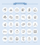 Set of Finance Icons. Set of thin, lines, outline financial service items icons, banking accounting tools, stock market global trading and money objects and Stock Image