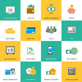 Set of finance and money icons. Set of finance and money icons in flat style Stock Photo