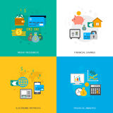 Set of finance and money icons. In flat style Royalty Free Stock Photography