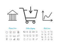 Set of finance and online payments icons, statistics, shopping. Vector business icons Stock Photo
