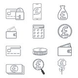 Set of finance and Pound GBP sign icon. Simple line illustration.  Royalty Free Stock Images