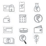 Set of finance and Rupee INR sign icon. Simple line. Illustration Royalty Free Stock Photos