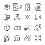 Set of finance thin line icons. High quality pictograms of money. Modern outline style icons collection Stock Photos