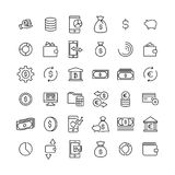Set of finance thin line icons. High quality pictograms of money. Modern outline style icons collection Stock Image