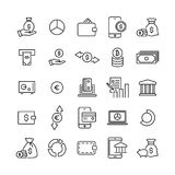 Set of finance thin line icons. High quality pictograms of money. Modern outline style icons collection Royalty Free Stock Images