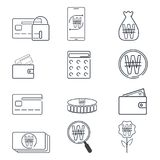 Set of finance and Won KRW sign icon. Simple line. Illustration Stock Photography