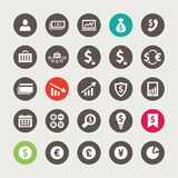 Set of financial and business icons. Set of vector flat design financial and business icons Stock Photos
