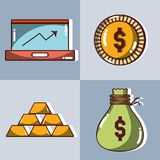 Set financial business to commerce economy. Vector illustration Royalty Free Stock Photo
