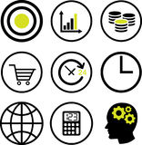 Set of Financial concept Icons -Vector Iconic Design. Set vector of Financial line icons in circle line, target sign, growth graph, data, money, cart, clock Royalty Free Stock Photos