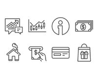 Financial diagram, Atm service and Accounting icons. Credit card, Banking and Holidays shopping signs. Set of Financial diagram, Atm service and Accounting Royalty Free Stock Image