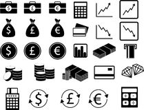 Set of financial icons. Vector set of financial icons in black and white Stock Photos