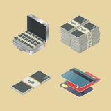 Set of financial icons, vector illustration. Set of financial icons isometric style, isolated on a yellow background, vector illustration Stock Photography