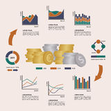 Set of Financial Infographics Elements Arranged in. A Circle. Vector Illustration EPS8 Stock Photos
