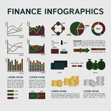 Set of Financial Infographics Elements on Grey. Background. Vector Illustration EPS8 Royalty Free Stock Photo