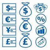 Financial Symbols. Illustration. Set of financial instruments for saving money. Illustration Royalty Free Stock Images