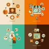Set of Financial market flat concept. Cartoon vector illustration Stock Photography