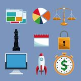 Set of financial tools technology. Collection vector illustration graphic design Stock Images