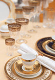 Set of fine bone porcelain dishware Stock Images
