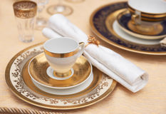 Set of fine bone porcelain dishware. Set of a fine bone porcelain dishware Royalty Free Stock Image