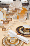 Set of fine bone porcelain dishware Royalty Free Stock Photos
