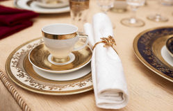 Set of fine bone porcelain dishware Stock Photos