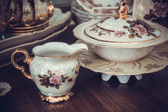 Set of fine bone porcelain. White luxury porcelain tableware set royalty free stock photography