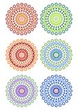 A set of fine circle patterns in different color variants Royalty Free Stock Image