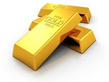 Set of fine gold bars on white background Stock Photos