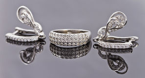 A set of fine silver jewelry Stock Image