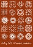 Set of fine vintage geometric patterns. Circle and square shapes, vector design elements Royalty Free Stock Photo