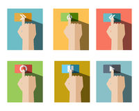 Set of Finger Touch Button Icon. Set of Finger Touch Playing Button Flat Icon Style Vector Royalty Free Stock Photos