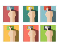 Set of Finger Touch Shopping Icon. On Button Flat Icon Style with Long Shadow Vector Royalty Free Stock Images