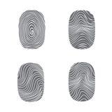 Set of fingerprint in black silhouette on white. Vector Stock Image