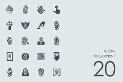 Set of fingerprint icons. Fingerprint vector set of modern simple icons Royalty Free Stock Image