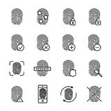 Set of fingerprint in modern thin line style. Stock Image