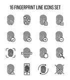Set of fingerprint in modern thin line style. Royalty Free Stock Images