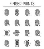 Set of fingerprint in modern thin line style. High quality black outline finger print symbols for web site design and mobile apps. Simple linear print Stock Images