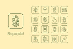 Set of fingerprint simple icons Royalty Free Stock Image