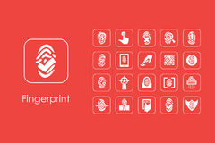 Set of fingerprint simple icons Royalty Free Stock Photo