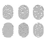 Set of fingerprint types with twisted lines signs isolated vector Royalty Free Stock Image