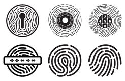 Set of fingerprint vector flat line icons. Royalty Free Stock Photography