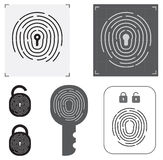 Set of fingerprint vector flat line icons. Royalty Free Stock Images