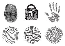 Set of fingerprint vector flat line icons. Stock Photos